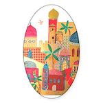 Jerusalem City Colorful Art Sticker (Oval 50 pk)