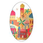 Jerusalem City Colorful Art Sticker (Oval 10 pk)