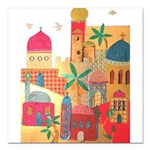 Jerusalem City Colorful Art Square Car Magnet 3