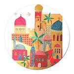 Jerusalem City Colorful Art Round Car Magnet