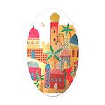 Jerusalem City Colorful Art Oval Car Magnet
