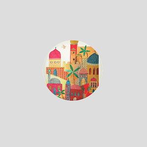 Jerusalem City Colorful Art Mini Button