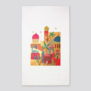 Jerusalem City Colorful Art 3'x5' Area Rug
