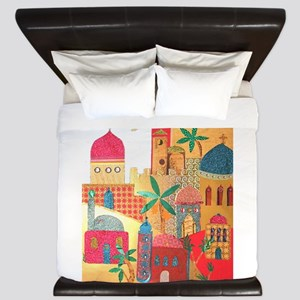 Jerusalem City Colorful Art King Duvet