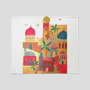Jerusalem City Colorful Art Throw Blanket