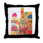 Jerusalem City Colorful Art Throw Pillow