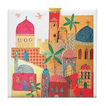 Jerusalem City Colorful Art Tile Coaster