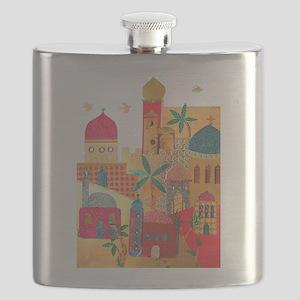 Jerusalem City Colorful Art Flask