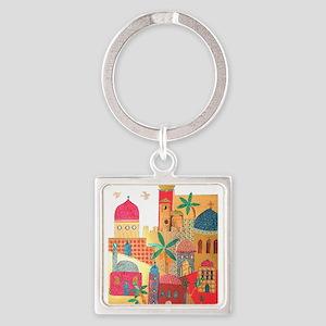 Jerusalem City Colorful Art Square Keychain