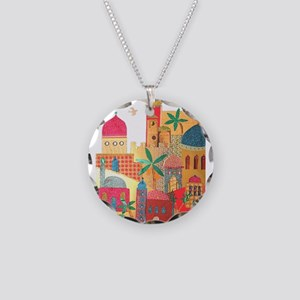 Jerusalem City Colorful Art Necklace Circle Charm
