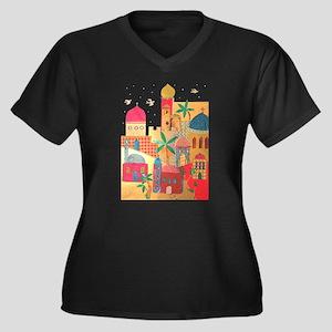 Jerusalem City Colorful Art Women's Plus Size V-Ne