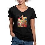 Jerusalem City Colorful Art Women's V-Neck Dark T-