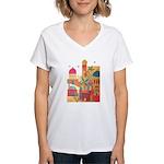Jerusalem City Colorful Art Women's V-Neck T-Shirt