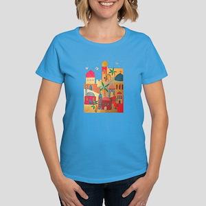 Jerusalem City Colorful Art Women's Dark T-Shirt
