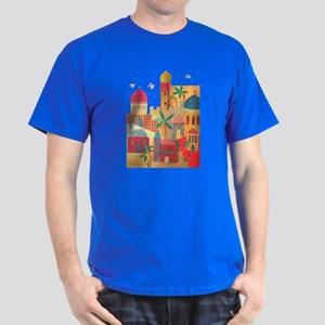 Jerusalem City Colorful Art Dark T-Shirt