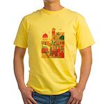 Jerusalem City Colorful Art Yellow T-Shirt