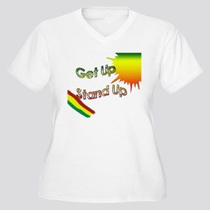 get up stand up Women's Plus Size V-Neck T-Shirt