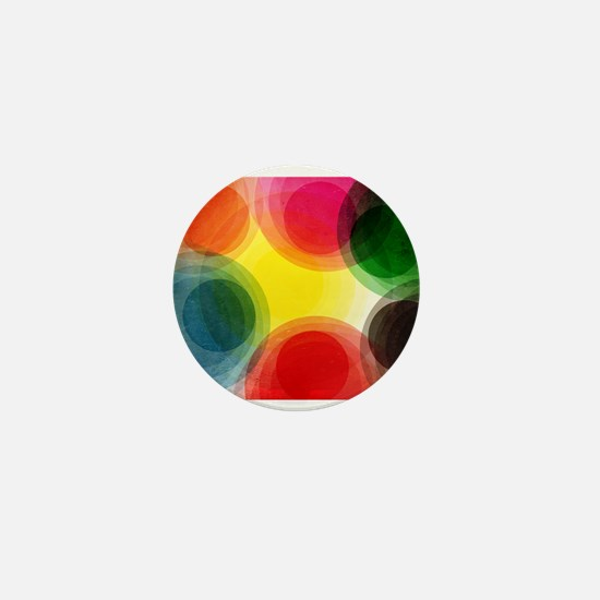 Colorful Retro Circles Mini Button
