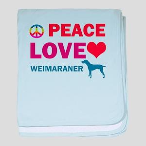 Peace Love Weimaraner baby blanket