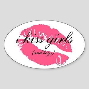 i kiss girls and boys Oval Sticker