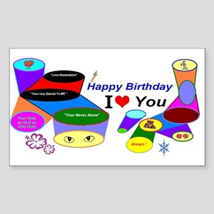 Happy Birthday Love Sticker (Rectangle)