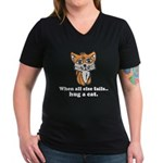 Hug a Cat Women's V-Neck Dark T-Shirt