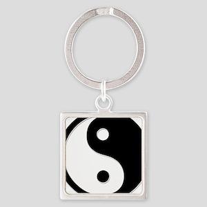 Black Yin Yang Square Keychain