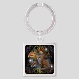 Foxes Square Keychain