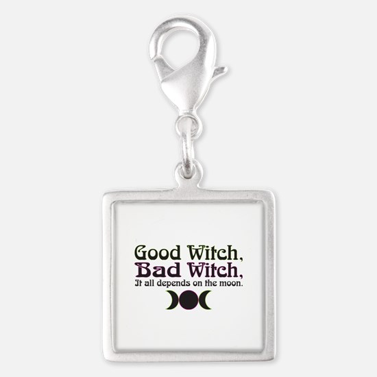 Good Witch, Bad Witch... Silver Square Charm