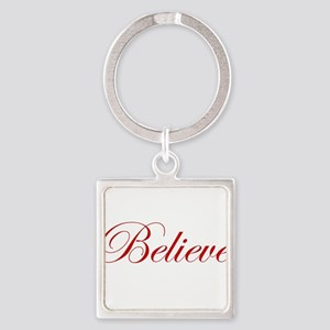 Red Believe Square Keychain