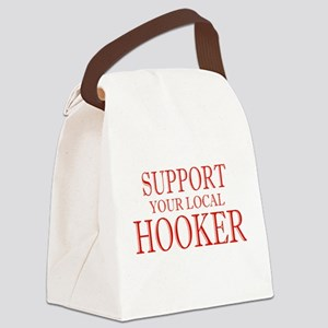 Support Your Local Hooker Red Canvas Lunch Bag