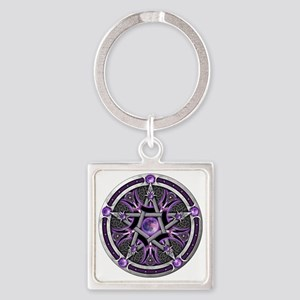 Pentacle of the Purple Moon Square Keychain