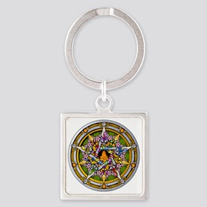 Beltane Pentacle Square Keychain