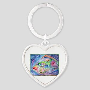Tropical Fish! Colorful art! Heart Keychain