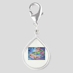 Tropical Fish! Colorful art! Silver Teardrop Charm