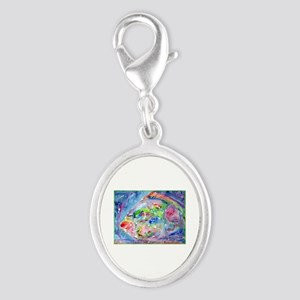 Tropical Fish! Colorful art! Silver Oval Charm