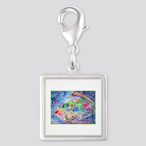 Tropical Fish! Colorful art! Silver Square Charm
