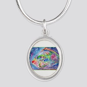 Tropical Fish! Colorful art! Silver Oval Necklace