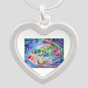 Tropical Fish! Colorful art! Silver Heart Necklace