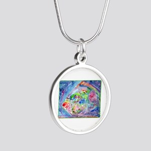 Tropical Fish! Colorful art! Silver Round Necklace