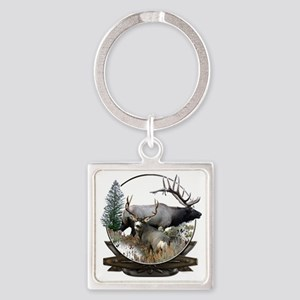Big Game Elk and Deer Square Keychain