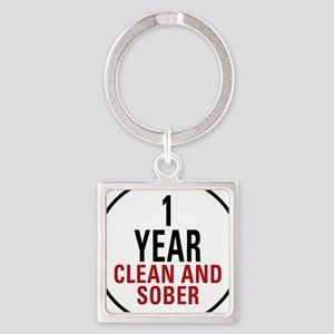 1 Year Clean & Sober Square Keychain