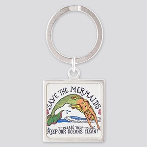 Save the Mermaids Square Keychain