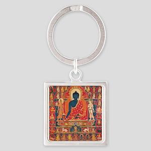Blue Buddha Square Keychain