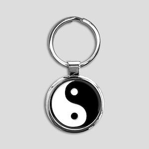 Black Yin Yang Round Keychain