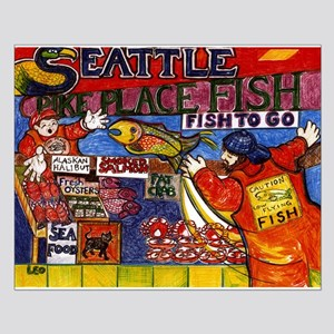 Seattle Fish Market Small Poster