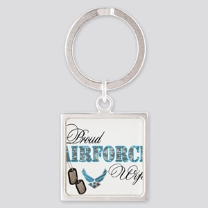 Proud Air Force Wife Square Keychain