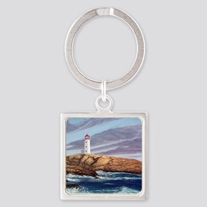 Peggy's Cove Lighthouse Square Keychain