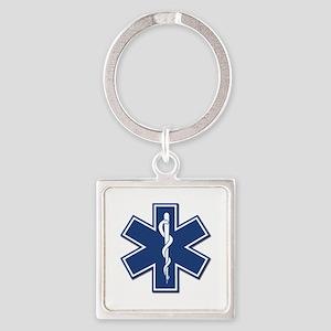 EMS EMT Rescue Logo Square Keychain