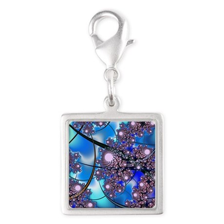 Spring Blossoms Fractal Silver Square Charm